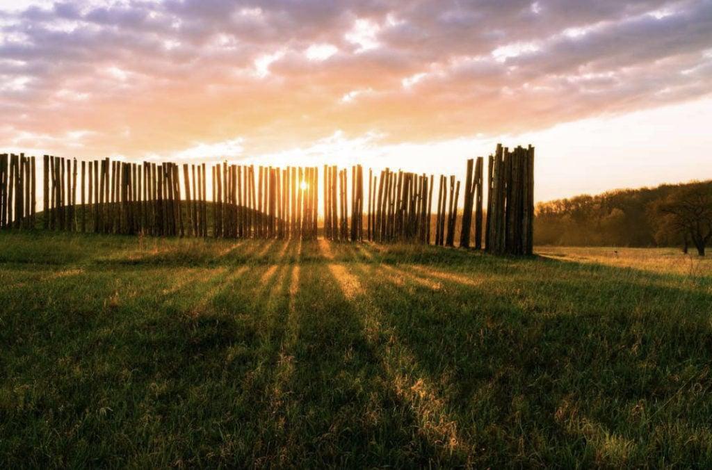 stockades at sunset at Aztalan State Park near Milwaukee, Wisconsin