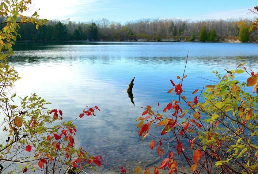 lake and autumn leaves at Harrington Beach State Park near Milwaukee, Wisconsin