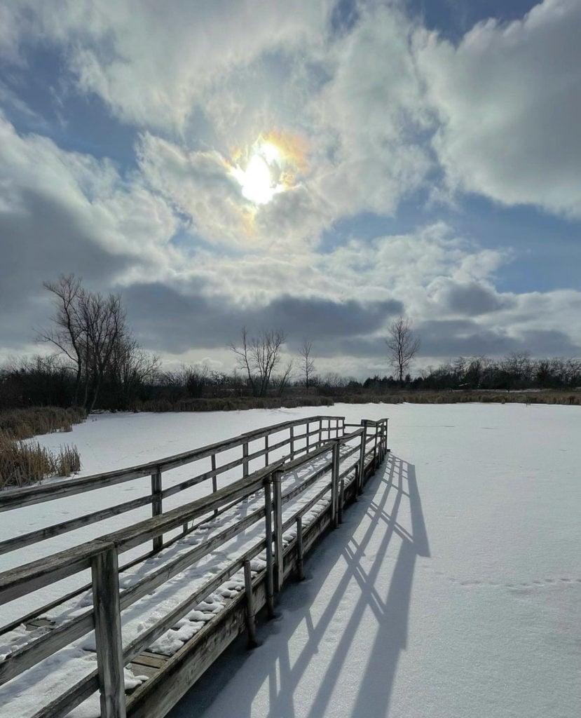 winter snow at Richard Bong State Recreation Area near Milwaukee, Wisconsin