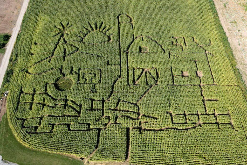 aerial drone shot of corn Maze at Appleland Farm Market Fredonia Wisconsin