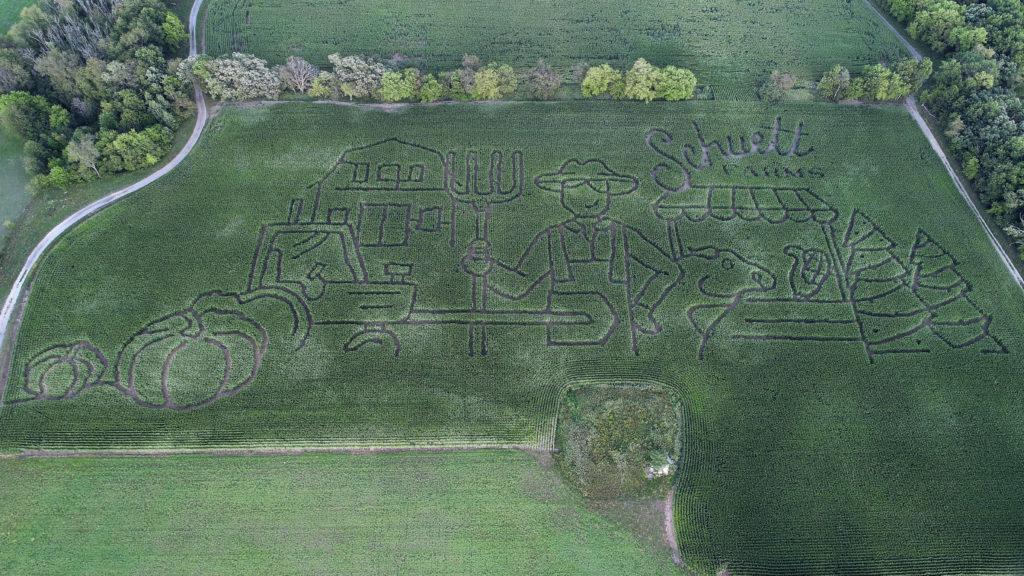 aerial drone shot of corn maze Schuett Farms 2021 Mukwonago Wisconsin